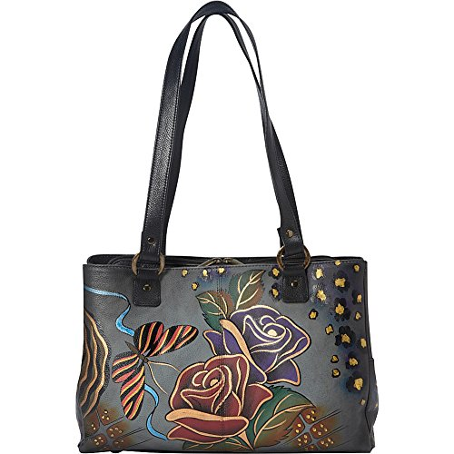 Anna by Anuschka Genuine Leather Multi pockets Organizer Handbag | Hand-Painted Original Artwork | Rose Safari Gray