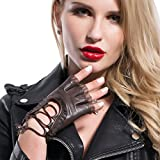 MATSU Women's Nappa Leather Steampunk Cosplay Gloves Luxury Handsewn Fingerless Cover with Lace M9223 (Large, brown)