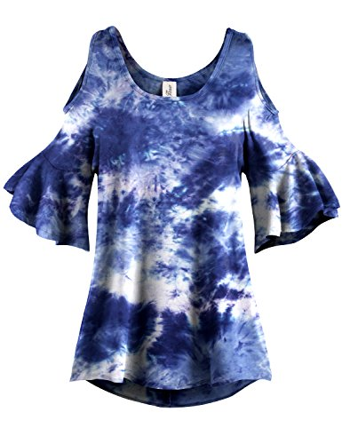 Navy Tie Dye Pleated End Cold Shoulder Tunic Tops, 010 - Navy, US M