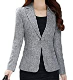 Spirio Womens Casual One Button Business Notched Lapel Slim Fit Blazer Jackets Gray L