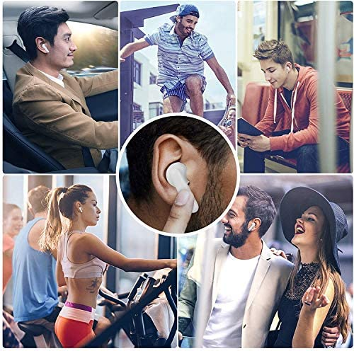 Wireless Earbuds Bluetooth 5.2 Stereo IPX7 Waterproof Built-in Microphone Deep Bass Pop-up Automatic Pairing Noise Reduction Smart Touch Function Headsets-White