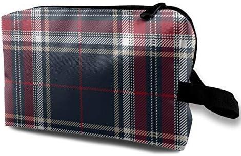 Rojo Azul Tartán A Cuadros Decorativo Escocés Lápiz Estuche Estuche para bolígrafos Bolso de Maquillaje cosmético: Amazon.es: Equipaje