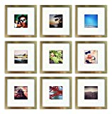9-Set, Tiny Mighty Frames - Brushed Metal, Square Instagram Photo Frame, 8x8 (4x4 Matted) (9, Gold)