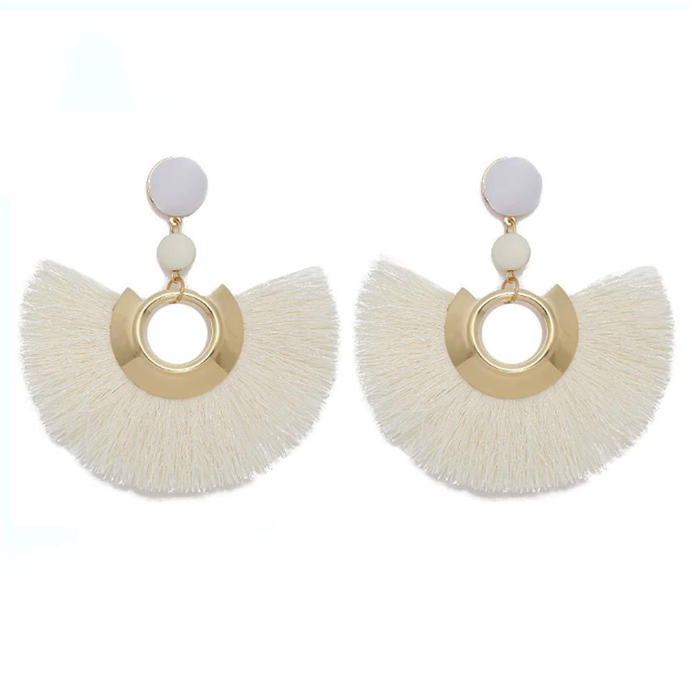 GaFree Bohemia Tassel Earrings Statement Handmade Dangle Ethnic Fringe Earrings Fashion Fan Shape Stud Earring Gifts for Women Girls
