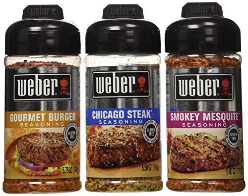 Weber All Natural Seasoning Blend 3 Flavor Variety Bundle: (1) Weber Chicago (Gourmet Steak Seasoning)