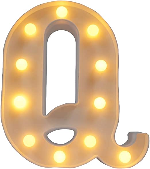 CJWPOWER Room Decor, LED Letter Signs, Cute Home Decor, Light Up Letter Signs for Wall, Bedroom, Party Decorations, Wedding, Birthday. Night Light and More (Q)