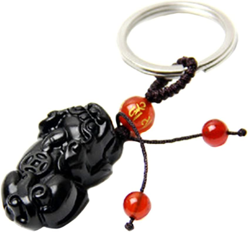Handmade Feng Shui Obsidian Pi Yao//Pi Xiu Key Chain or Hanging for Wealth Luck with Betterdecor Pounch