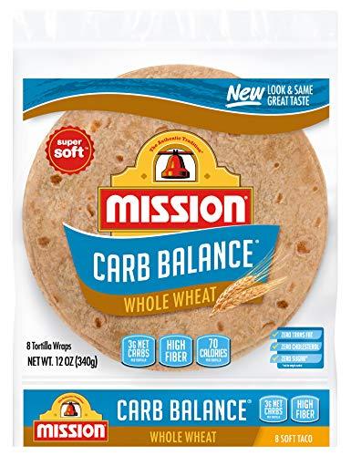 Mission Carb Balance Soft Taco Whole Wheat Tortillas, Low Carb, Keto, Whole Grains, High Fiber, No Sugar, Medium Size, 8…