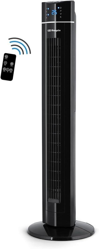 Orbegozo TWM 1009 – Ventilador de torre con mando a distancia, iónico, temporizador, 3 modos de funcionamiento (normal, brisa y noche), 3 velocidades, bandeja para esencias aromáticas y potencia 60 W