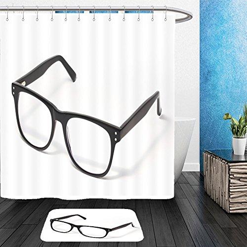 Vanfan Bathroom 2Suits 1 Shower Curtains & 1 Floor Mats black eye glasses isolated on white 124979924 From Bath - Repair Eyeglass Calgary