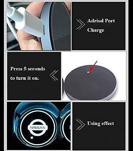 Mercedes Cargador USB Juego de 2 Soportes para Copa de Coche con Luces LED 7 Colores cambiantes dise/ño de Coche