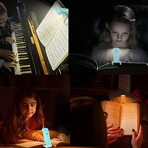 USB Rechargeable Book Light, for Kids Reading in Bed, LED Clip on Book Reading lamp, 3 Colors, 9 Brightness Adjustable Level, for Eye Care at Night, Warm White, Perfect Gift for Bookworms (Blue)