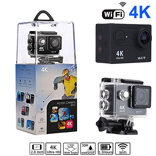 Bekhic V90 4K HD Wifi Sports Action Camera Ultra Waterproof DV Camcorder 12MP 170 Degree Wide Angle with Full Accessories Luxury Kits (Hd Camcorder Waterproof)
