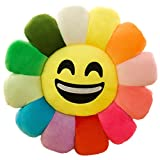 Flower Floor Pillow Soft Plush Rainbow Emoji Emoticon Seating Cushion for Kids Smile 12''