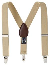 Sportoli Kids Baby Adjustable Elastic Solid, Striped, and Polka Dot Suspenders - Tan (30 Inch)