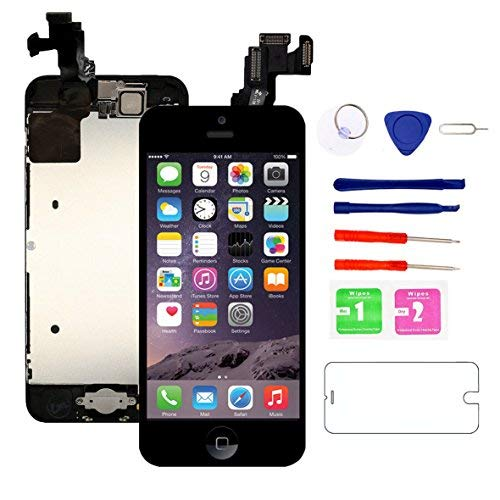 (Nroech for iPhone 5C Screen Replacement Black with Home Button and Camera Full Assembly - 5C LCD Display Touch Digitizer - Repair Tools Kit and Tempered Glass Screen Protector)