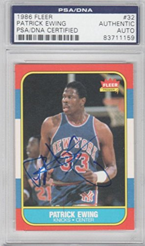 - Patrick Ewing New York Knicks 1986 Fleer Signed AUTOGRAPH - PSA/DNA Certified - Basketball Slabbed Autographed Rookie Cards