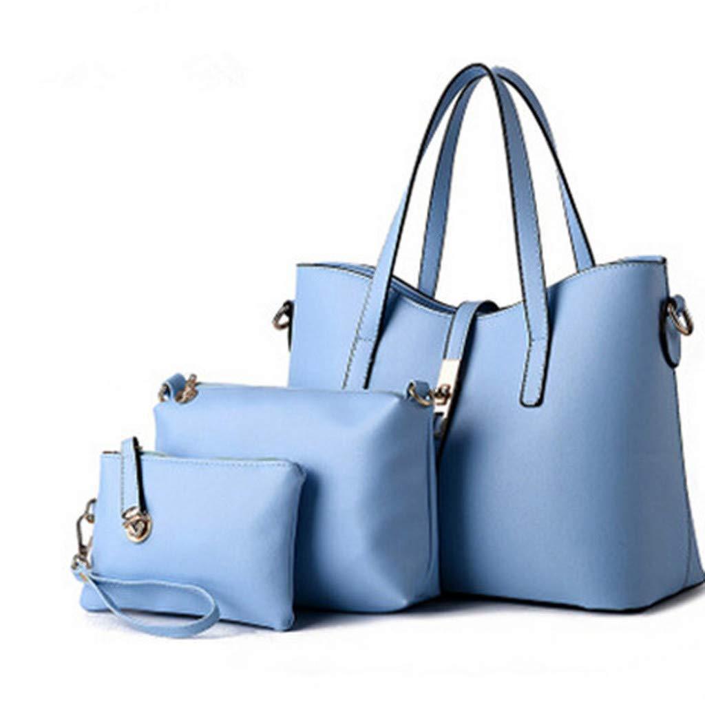 MILIMIEYIK Women Two Tone Medium Handbags Top Handle Satchel Purse Shoulder Bag with Wallet and Wristlet 3pcs Purse Set Light Blue