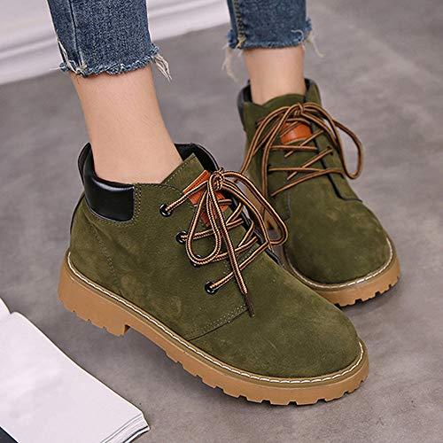 Creazrise Women's Lace up Low Heel Work Combat Boots Waterproof Ankle Bootie (Yellow,7)