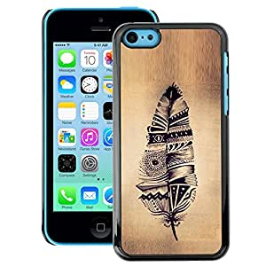 A-type Arte & diseño plástico duro Fundas Cover Cubre Hard Case Cover para iPhone 5C (Feather Indian Native Parchment Rustic)