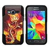 Samsung Core Prime Case, Dual Armor Fusion STRIKE Impact Kickstand Case with Unique Designs for Samsung Galaxy Core Prime G360, Samsung Galaxy Prevail LTE (Verizon, Sprint, Boost Mobile) from MINITURTLE | Includes Clear Screen Protector and Stylus Pen - Rose Flame