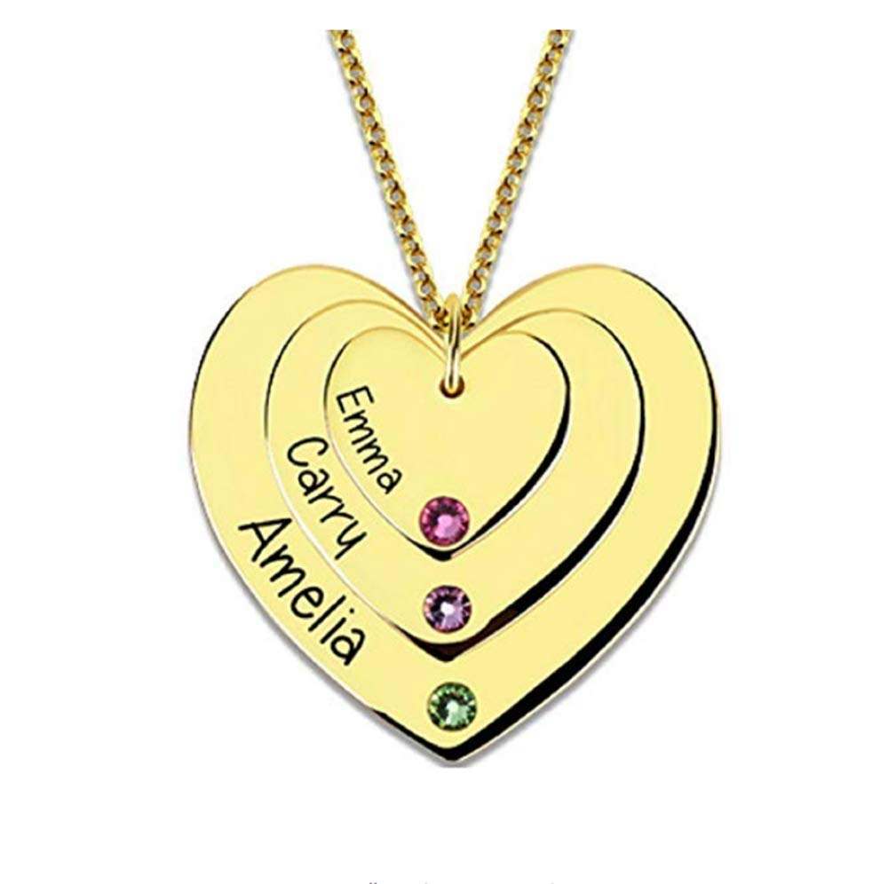 Boknight Personalized Engraved Names Necklace Customized 3 Names Custom Made Jewelry for Mom