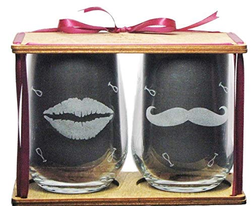 His and Hers Lips and Mustache 360 Degree Engraved Stemless Wine Glasses