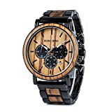 Mens Wooden Watch with Night Luminous Silver Needle Large Size Luxury Stylish Chronograph Sports Military Quartz Wood Wirst Watch Wood & Stainless Steel Combined Retro Classic Watches
