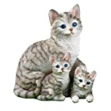 Mama Cat And Kittens Cute Garden Statue