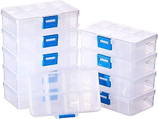 BENECREAT 10 Pack 8 Compartimientos Caja Ajustable de Plástico ...
