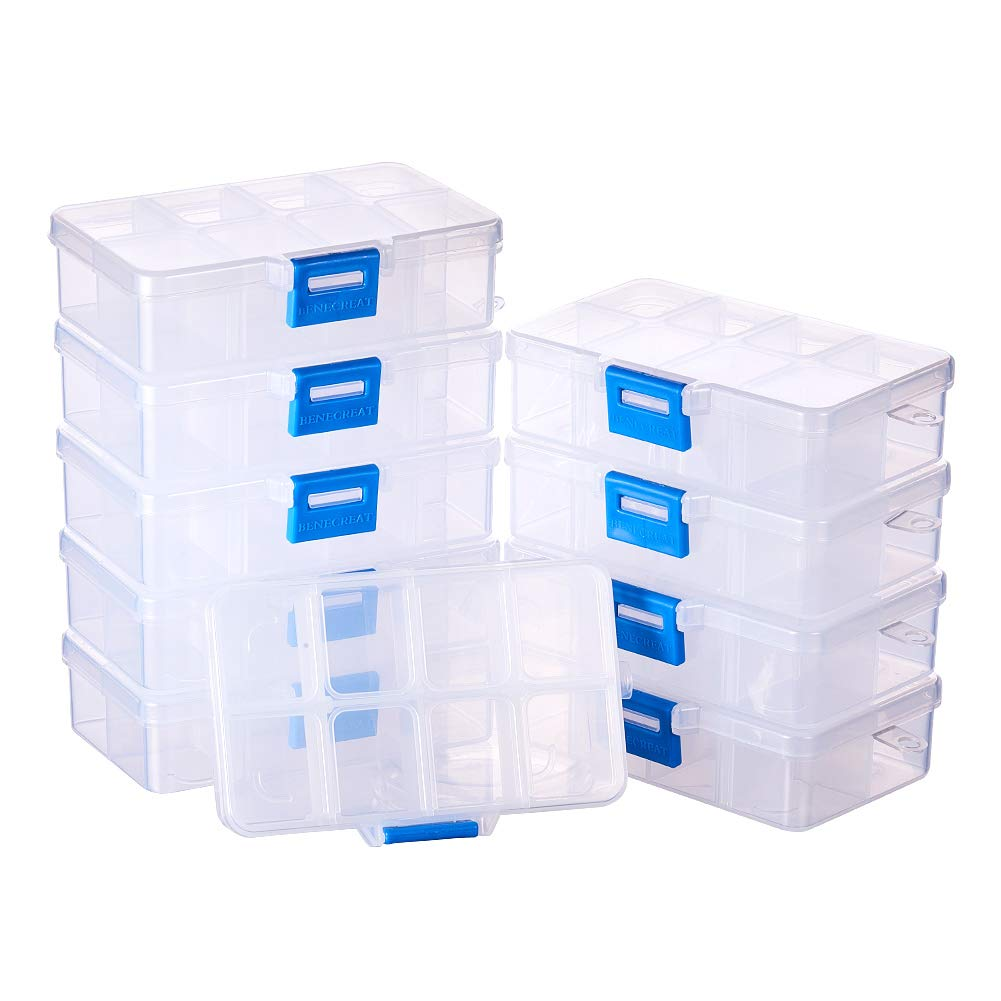BENECREAT 10 Pack 8 Grids Jewelry Dividers Box Organizer Adjustable Clear Plastic Bead Case Storage Container 4.33 x 2.68 x 1.18 inch, Compartment, 1.18 x 0.98 x 1.02 inch by BENECREAT