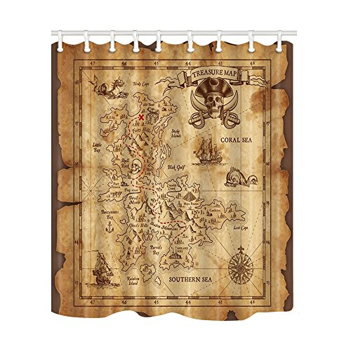 NYMB Old Map Pirate Ship Bath Curtain 69X70 inches Mildew Resistant Polyester Fabric Shower Curtains Fantastic Decorations