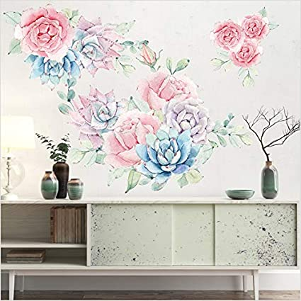 9da778bd9 Image Unavailable. Image not available for. Color  Sykdybz Colorful Spring  Flowers Wall Sticker ...