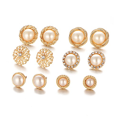 Shining Diva Fashion Combo of 6-9 Pairs Pearl Earrings Set Latest Design Stylish Stud Earrings for Women and Girls