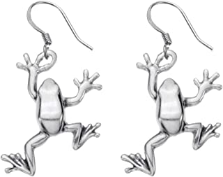 product image for DANFORTH - Tree Frog Earrings - Pewter - 1 Inch - Surgical Steel Wires - Handcrafted - Made in USA