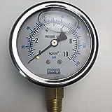 Malida Stainless Dual Scale Water Pressure Gauge,Seismic Liquid Filled Pressure Gauge,Vacuum Pressure Gauge ,Negative Pressure Table with 1/4 Thread. (10kg(140psi))