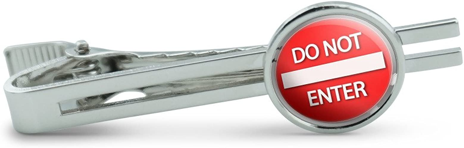 Do Not Enter Stylized Red Grey Round Sign Mens Tie Clip Tack Bar