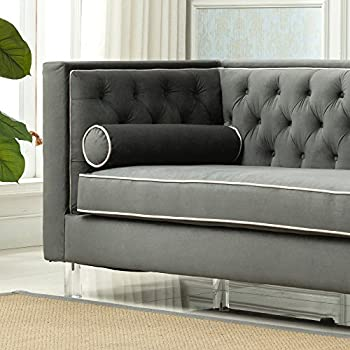 Christies Home Living Victoria Collection Contemporary Polyester Velvet Fabric Upholstered Button Tufted Living Room Tuxedo Sofa with 2 Lumbar Pillows and Clear Acrylic Legs, Grey