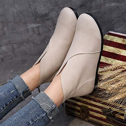 Colore Colore Colore 36 alla alla alla Stivali Vintage Giallo Zipper Scarpe da Dimensione Beige Caviglia Piatte EU ZHRUI Donna morbide BvA66w