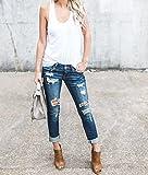 Ermonn Women Distressed Denim Jeans Skinny Stretch