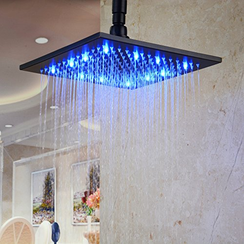 Hiendure Square Stainless Showerhead Rubbed