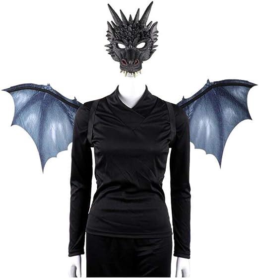 ABCDE Conjunto de alas de máscara de dragón no Tejidas Halloween ...