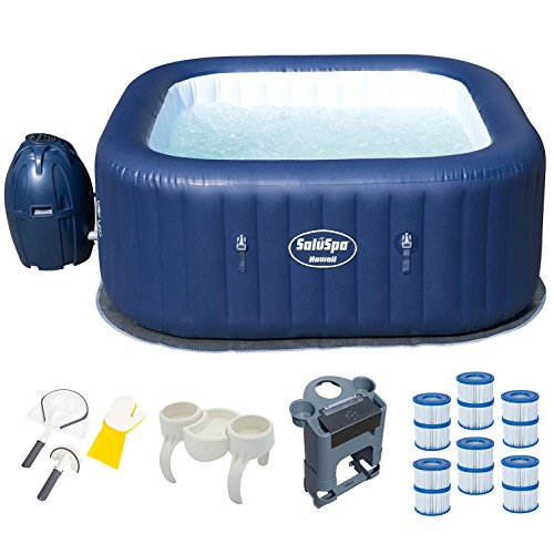 Bestway 6 Person Inflatable Hot Tub + Music Center + 6 Filters + Cleaning Set by Bestway