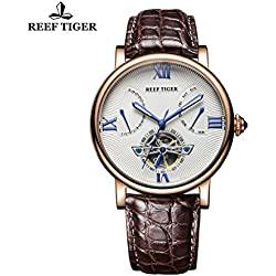 Reef Tiger Men's Tourbillon Watch with Date Day Rose Gold White Dial Alligator Strap Watch RGA191