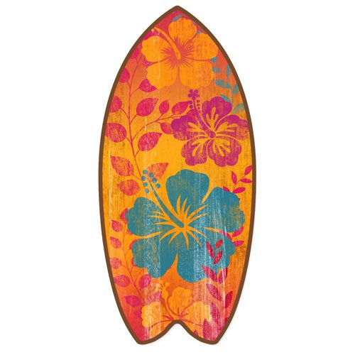 Highland Graphics Tropical Hibiscus Mini Surfboard Weathered Beach Home D飯r Accent 11 Inches Orange