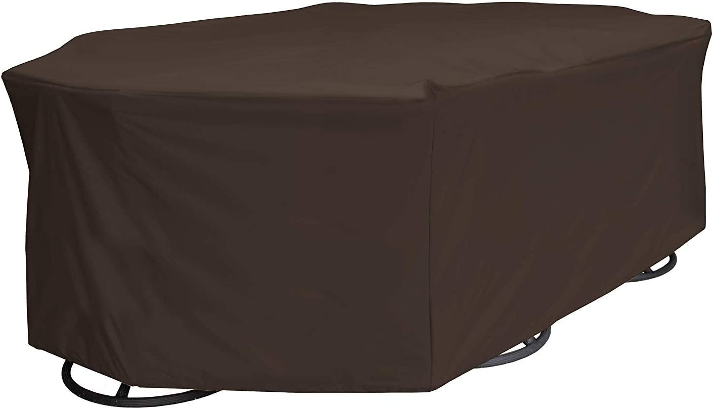 True Guard Patio Furniture Covers Waterproof Heavy Duty - Fits 6-Chair Dining Sets, Rectangle/Oval Table, Octagon Design, 600D Rip-Stop, Fade/Stain/UV Resistant for Outdoor Patio Furniture, Dark Brown