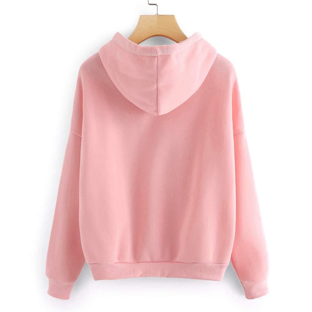 Yajiemen Womens Long Sleeve Hoodie Sweatshirt Jumper Hooded Pullover Tops Blouse