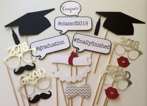 Losuya 2018 Graduation Photo Props Photobooth Party Favor 17pcs Glasses Moustache Red Lips Bow Ties On Sticks Graduation Ceremony Party -