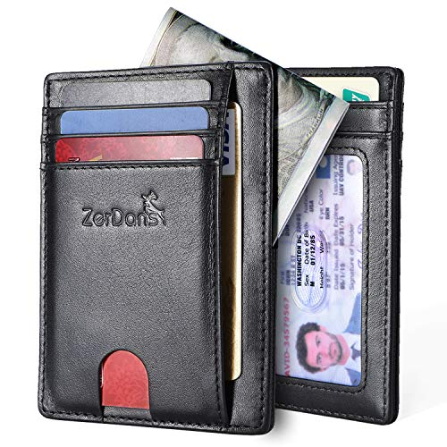 Front Pocket Leather - Wallets for Men, RFID Blocking Minimalist Slim Front Pocket Leather Credit Card Holder with Magnetic Pocket (Black-Napa) (Black)