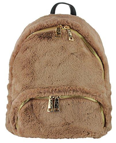 C.C Women's Faux Fur Fuzzy Backpack Schoolbag Shoulder Bag Purse, - Womens Fur Handbag